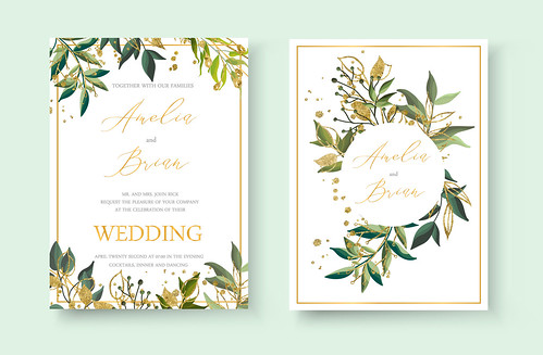 Wedding floral golden invitation card envelope save the date minimalism