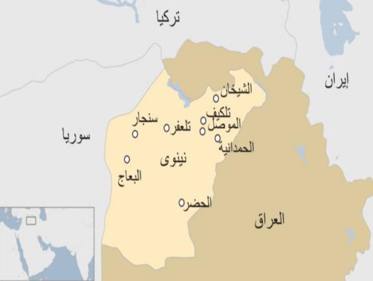 خريطة توضح مكان مدينة نينوى