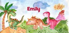 dinosaurs watercolor-girl