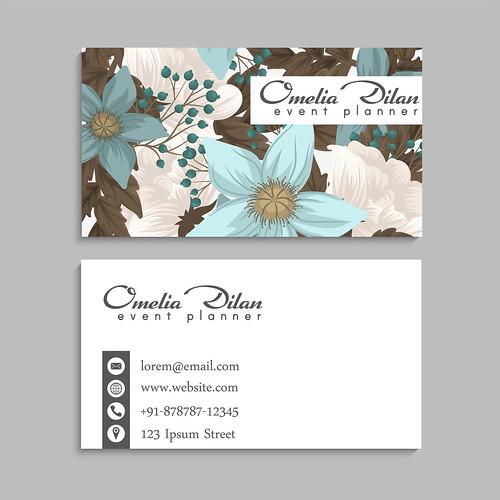 Flower business cards mint green