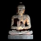 India - Maharashtra - Ajanta Caves - Cave 4 - Sitting Buddha - 14d