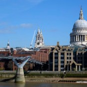 Broken Wharf, the Millenium Bridge and St Paul's Cathedral from Bankside in London  -  (Published by GETTY IMAGES)