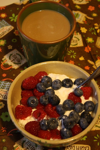 Chobani, berries, coffee