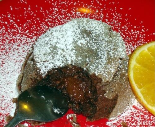 Molten chocolate cake with orange zest
