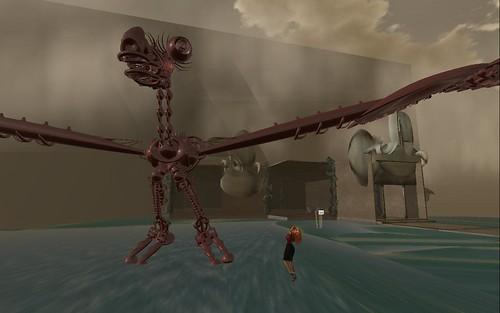 Scarp Godenot in giant Yoa Ogee mechanical skeleton dinosaur avatar