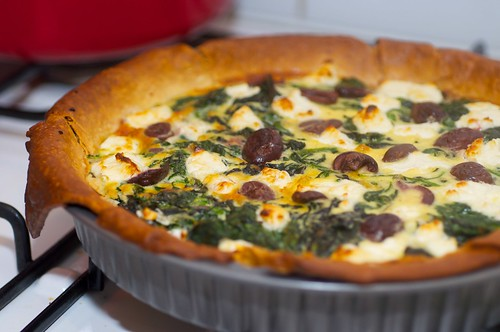 Spinach, red onion and fetta pie
