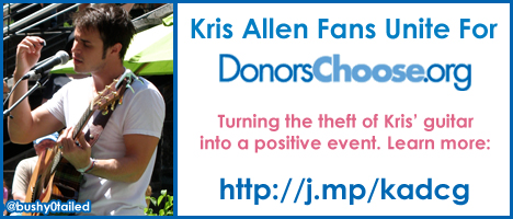 Kris Allen Fans Unite to raise money for DonorsChoose.org in the name of Kris Allen's stolen guitar