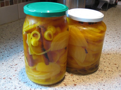 Golden beets pickled in the refrigerator