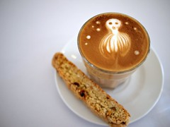 Latte art and biscotti, Pause, Dominic Khoo's 28th Fevrier, 5 Jalan Kilang
