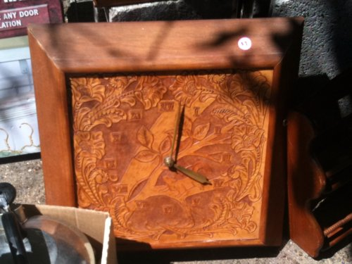 Tooled leather clock