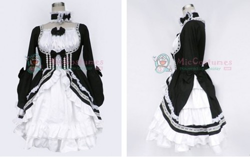 black and white lolita dress with long sleeves_1