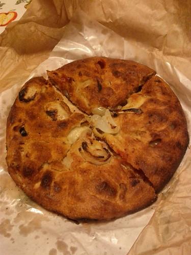 Onion stuffed pizza, Pizza alla cipolla, Puglia, Italy