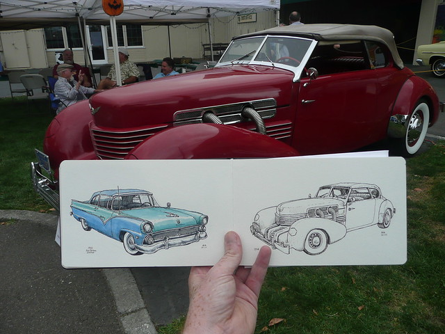 sketching old cars at the harvest fair