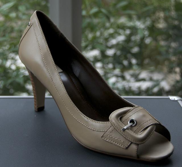Beige Buckle heels