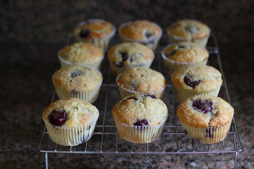 cherry almond citrus muffins, cooling