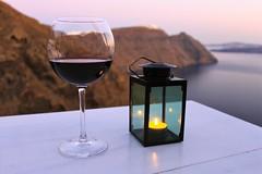 Souper et vin rouge, Santorin, Grèce