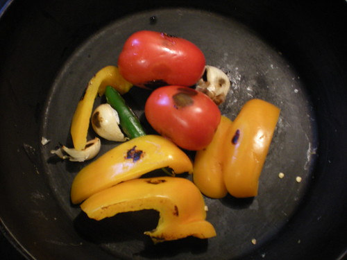 Roasting veggies for salsa