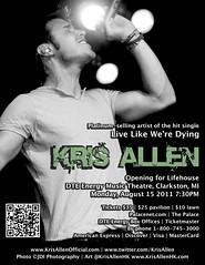 Kris Allen Lifehouse Wayland concert August 15 2011 DTE Energy Music Theatre promo flyer