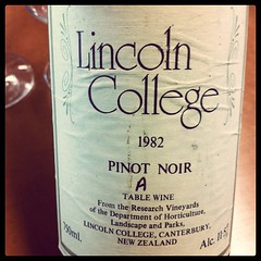 1982 Pinot Noir Lincoln College, NZ