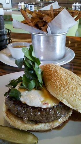 Napa Burger and sweet potato fries - Bobby Flay Burger Palace