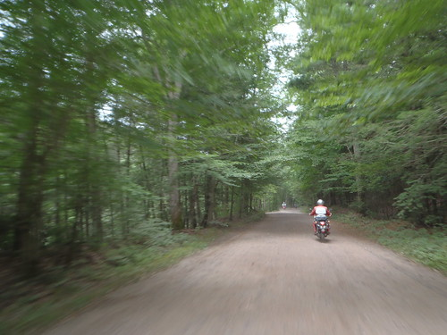 Transalp in front of me in the woods somewhere in central Connecticut with a DRZ way out in front