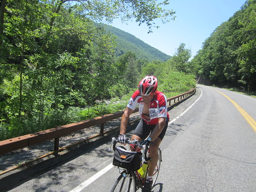Roy climbing Rt 214 going up to Hunter Mtn