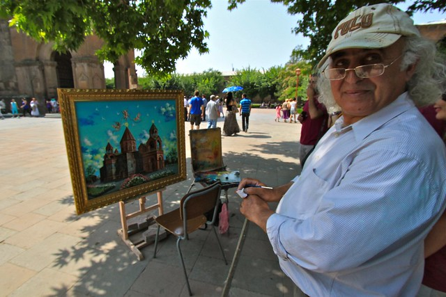 Artiste à l'Etchmiadzin, Arménie