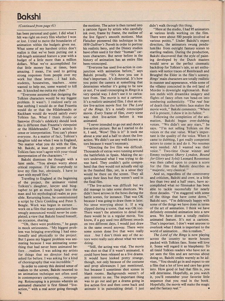 Ralph Bakshi interview by Ed Naha - Starlog, 1979