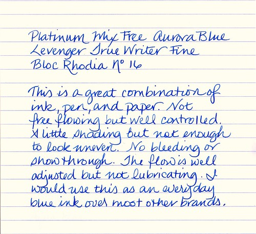 Platinum Mix Free Ink Aurora Blue Sample