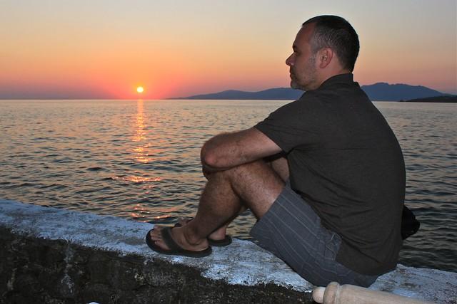 Marc et le soleil égéen, Myconos, Grèce