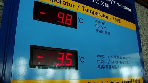 Temperatura exterior en Jungfraujoch