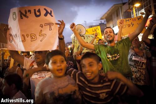 Protest for social justice, Hatikva neighborhood, south Tel Aviv, Israel, 2/8/2011.