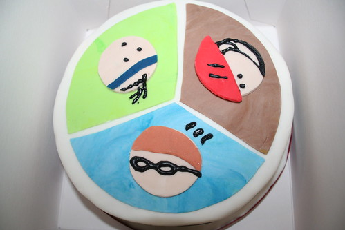Triathlon theme cake by DeepDelights