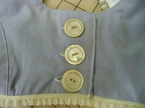 blue crop top - buttons