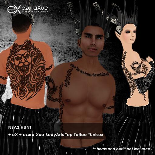 + eX + ezura Xue BodyArts Top Tattoo Unisex NSA3 Hunt gift