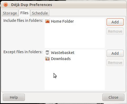 Deja Dup Preferences Files