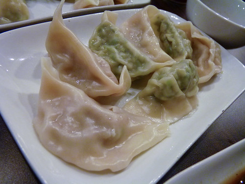 Special Lamb and Pork and Chive Dumplings (steamed) at Kanzhu