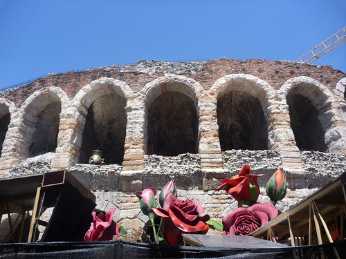 Verona Arena with roses