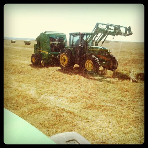Raking, and baling to make hay! John Deere central here at the ranch!