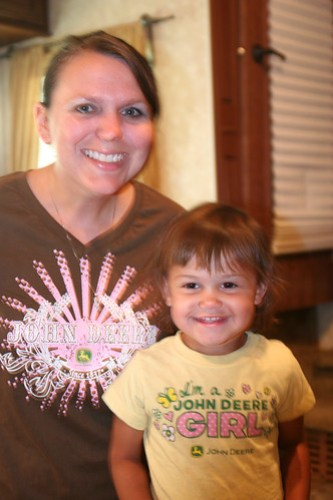 Kaidence and I modeling our John Deere Shirts
