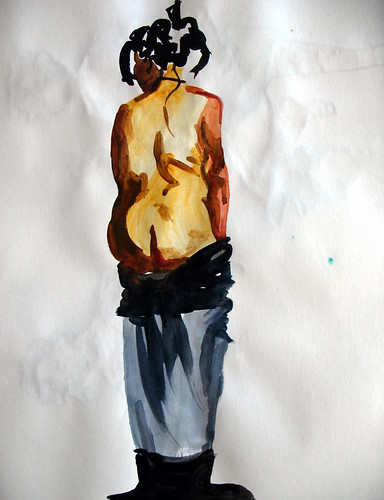 Watercolor of standing nude woman from behind