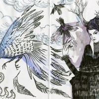 Black and White (and blue) Sketchbook Inspiration