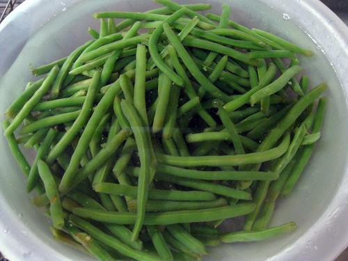 Skinny Green Beans in Ice Water Bath