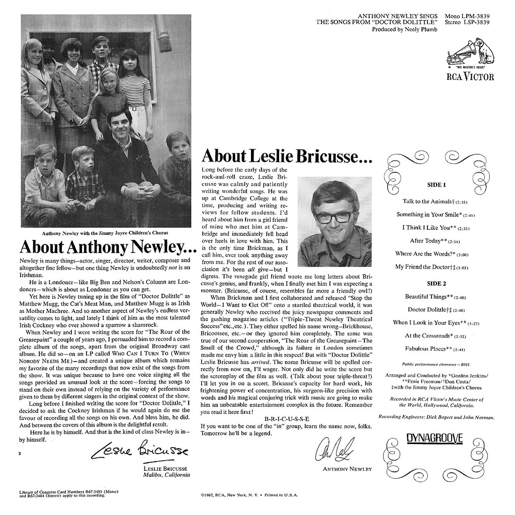 Anthony Newley Sings the Songs from Doctor Dolittle