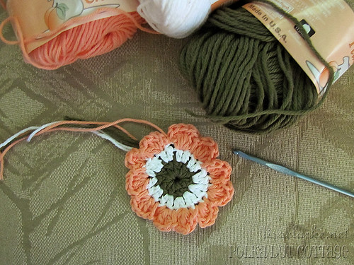 A crochet flower