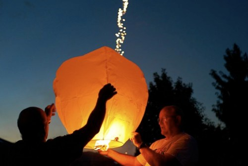 Flying Lantern Launch, July 04, 2011