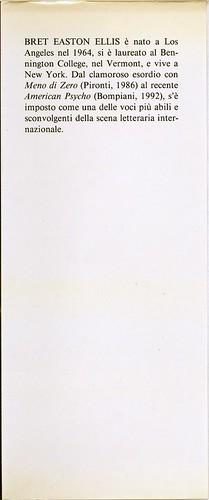 Bret Easton Ellis, Le regole dell'attrazione. Pironti 1988. Risvolto della prima di sovracoperta. Prima edizione, seconda sovracoperta.