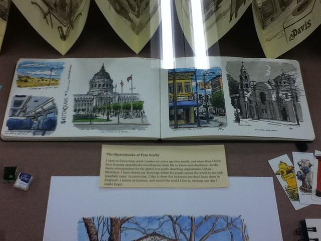 Sketchbook display at Davis Public Library