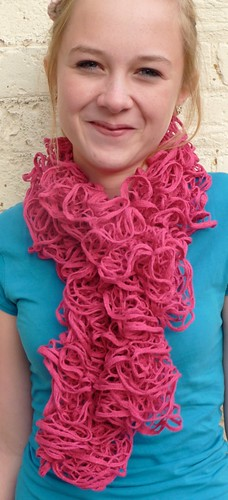 Pink loopy yarn scarf by Samantha Halliwell