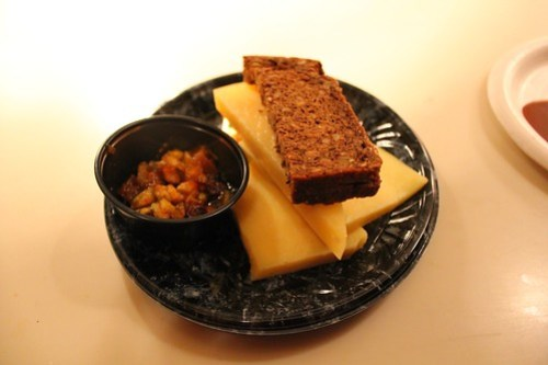 Ireland - Cheese Selection (Aged-Irish Cheddar, Dubliner and Ivernia Cheese) with Apple Chutney and Brown Bread